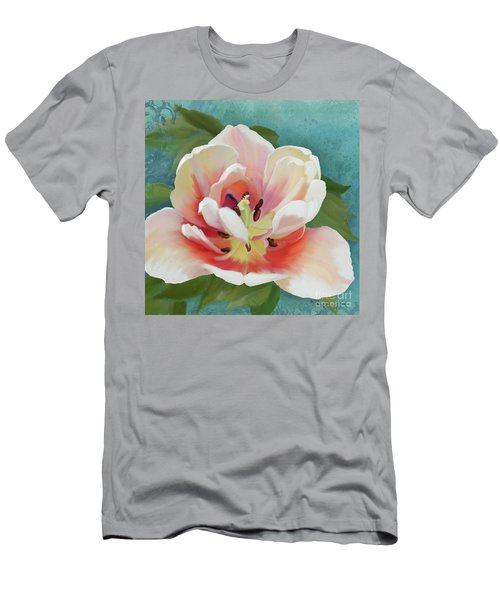 Men's T-Shirt (Athletic Fit) featuring the painting Perfection - Single Tulip Blossom by Audrey Jeanne Roberts