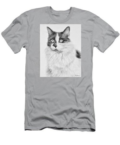 Pet Cat Drawing Olivia Men's T-Shirt (Slim Fit) by Kate Sumners