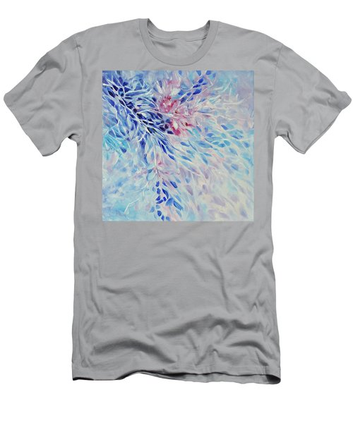 Men's T-Shirt (Slim Fit) featuring the painting Petals And Ice by Joanne Smoley