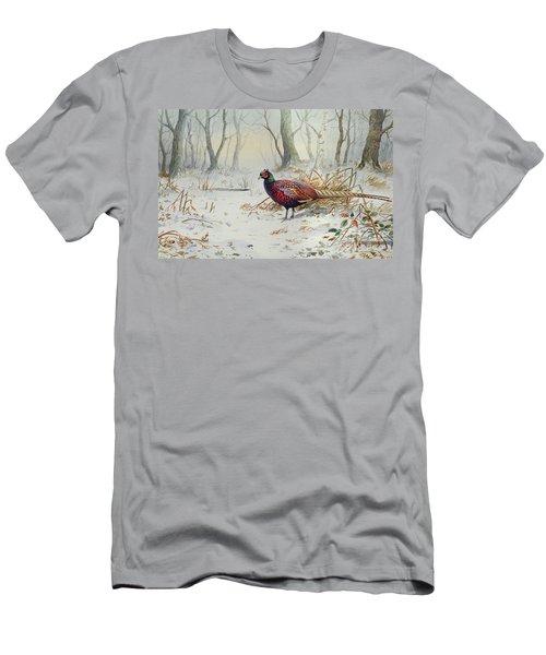 Pheasants In Snow Men's T-Shirt (Slim Fit) by Carl Donner
