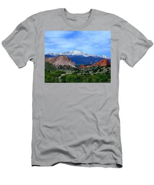 Men's T-Shirt (Athletic Fit) featuring the photograph Pikes Peak And Garden Of The Gods 1 by Joseph R Luciano