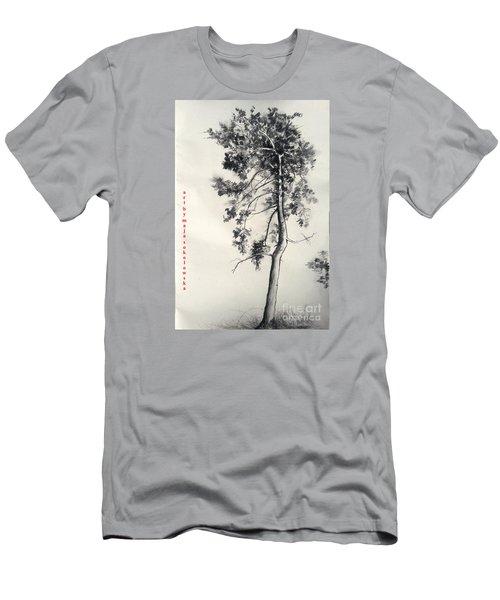 Men's T-Shirt (Slim Fit) featuring the drawing Pine Drawing by Maja Sokolowska