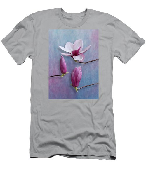 Pink Chinese Magnolia Flower With Two Buds Men's T-Shirt (Athletic Fit)