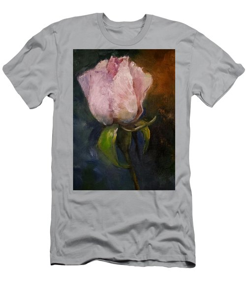 Pink Floral Bud Men's T-Shirt (Slim Fit)
