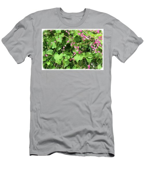 Men's T-Shirt (Athletic Fit) featuring the photograph Pink Flowering Vine1 by Megan Dirsa-DuBois