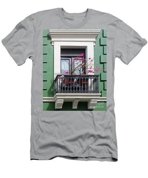 Pink Flowers On Balcony Men's T-Shirt (Slim Fit) by Cheryl Del Toro
