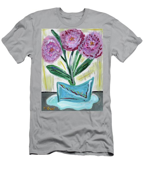 Pink Peonies-gray Table Men's T-Shirt (Athletic Fit)