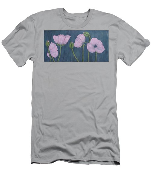Men's T-Shirt (Slim Fit) featuring the painting Pink Poppies by Kathleen McDermott