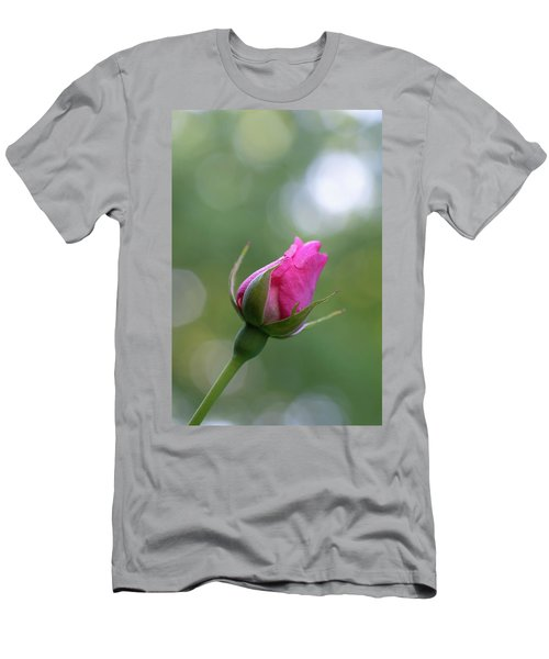 Pink Rose Bud Men's T-Shirt (Athletic Fit)