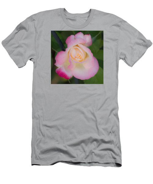 Men's T-Shirt (Slim Fit) featuring the photograph Pink Tinged Rose by Cathy Donohoue