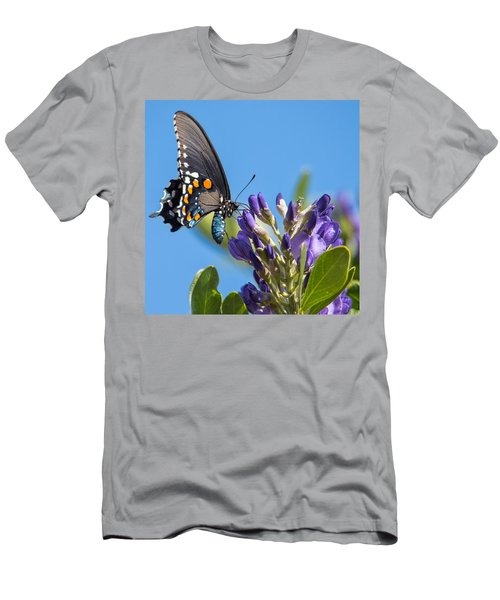 Men's T-Shirt (Athletic Fit) featuring the photograph Pipevine Swallowtail On The Texas Mountain Laurel by Dan McManus
