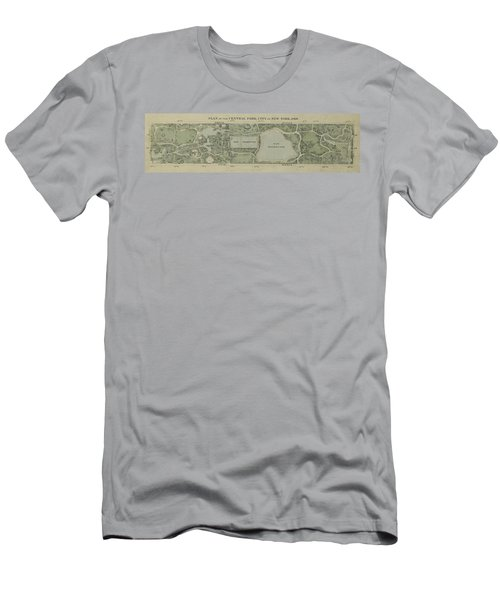 Men's T-Shirt (Slim Fit) featuring the photograph Plan Of Central Park City Of New York 1860 by Duncan Pearson