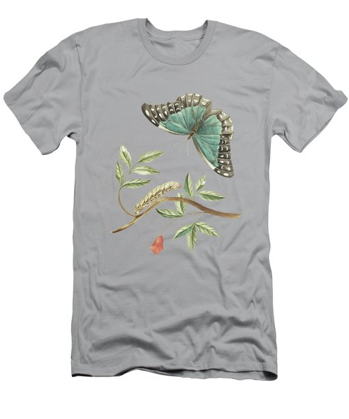 Plant With Leaves And Flower Caterpillar And Butterfly By Cornelis Markee 1763 Men's T-Shirt (Athletic Fit)