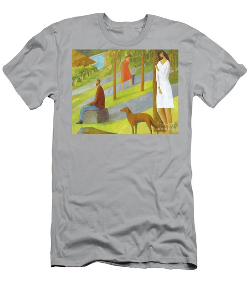 Men's T-Shirt (Slim Fit) featuring the painting Poets Hill by Glenn Quist