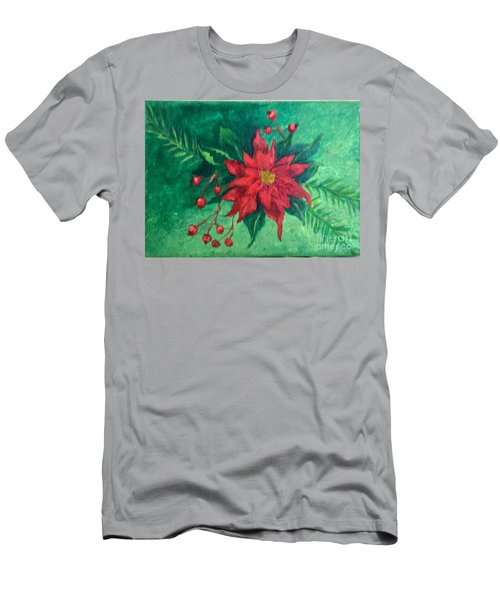Poinsettia Men's T-Shirt (Slim Fit) by Lucia Grilletto