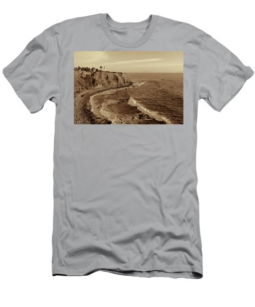 Point Vicente Lighthouse Palos Verdes California - Sepia Rendition Men's T-Shirt (Athletic Fit)
