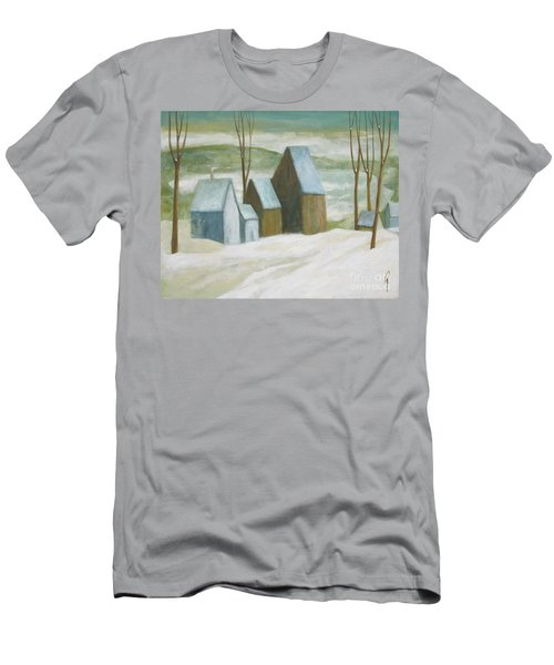Men's T-Shirt (Slim Fit) featuring the painting Pond Farm In Winter by Glenn Quist