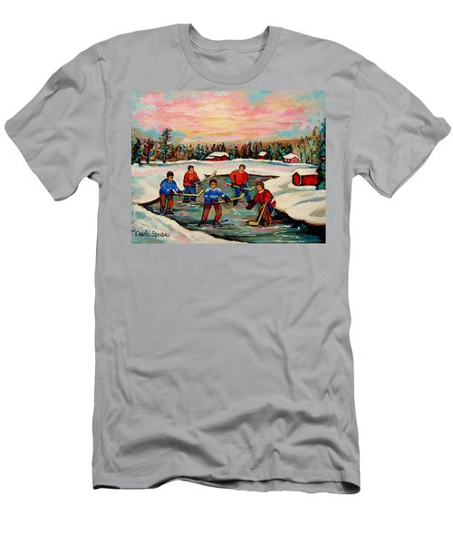 Pond Hockey Countryscene Men's T-Shirt (Athletic Fit)