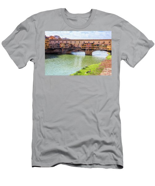 Men's T-Shirt (Slim Fit) featuring the photograph Ponte Vecchio Florence Italy II Painterly by Joan Carroll