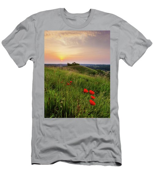 Men's T-Shirt (Athletic Fit) featuring the photograph Poppies Burns by Davor Zerjav