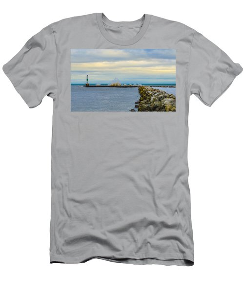 Men's T-Shirt (Slim Fit) featuring the photograph Port Washington Light 1 by Deborah Smolinske