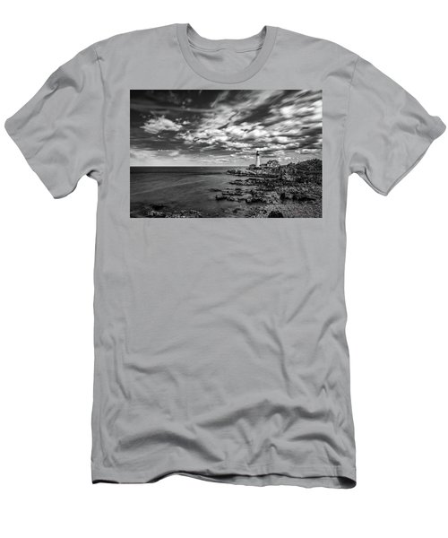 Portland Head Light In Black And White Men's T-Shirt (Athletic Fit)