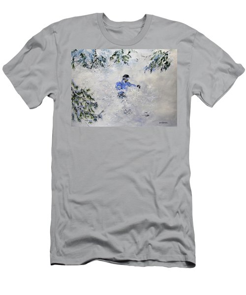 Men's T-Shirt (Slim Fit) featuring the painting Powder Hound by Ken Ahlering