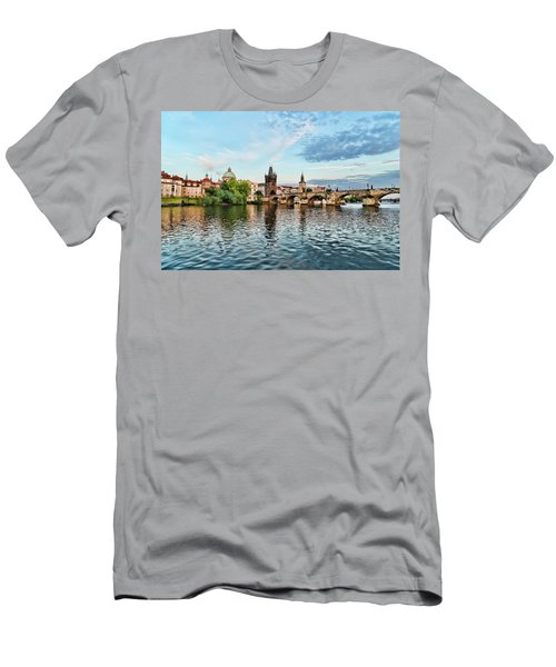 Prague From The River Men's T-Shirt (Athletic Fit)