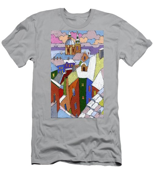 Prague Old Roofs Winter Men's T-Shirt (Athletic Fit)