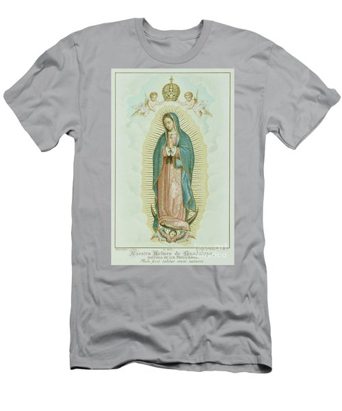 Prayer Card Depicting Our Lady Of Guadalupe Men's T-Shirt (Athletic Fit)