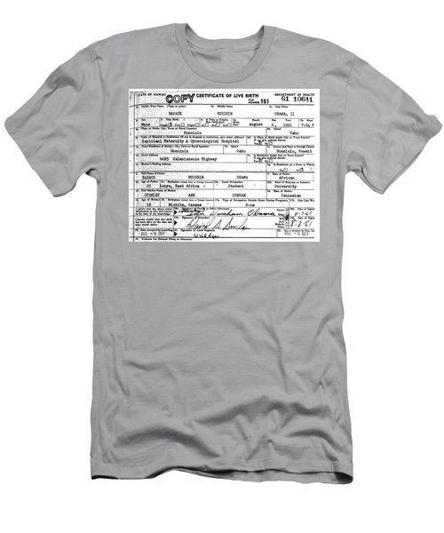 Men's T-Shirt (Athletic Fit) featuring the photograph President Barack Obama's Official Birth Certificate by Merton Allen