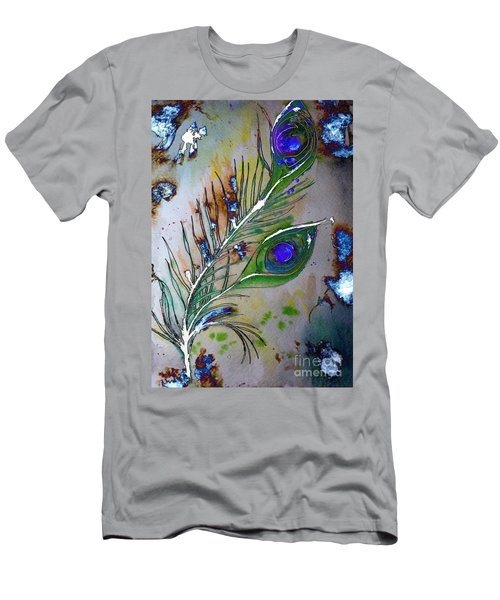 Men's T-Shirt (Athletic Fit) featuring the painting Pretty As A Peacock by Denise Tomasura