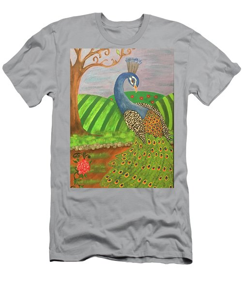 Pretty In Peacock Men's T-Shirt (Athletic Fit)