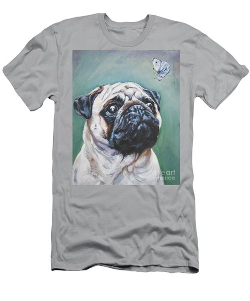 Pug With Butterfly Men's T-Shirt (Slim Fit) by Lee Ann Shepard