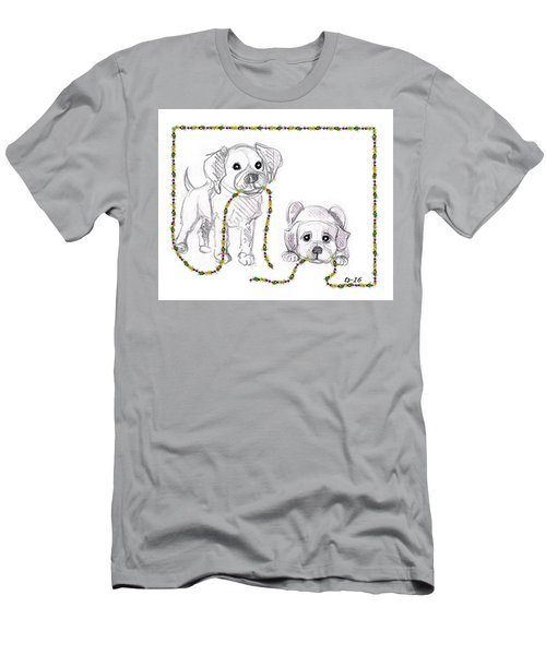 Puppies Greeting Card Men's T-Shirt (Athletic Fit)