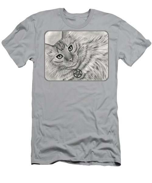 Men's T-Shirt (Athletic Fit) featuring the drawing Purrfect Page Of Pentacles - Tarot Card Art by Carrie Hawks