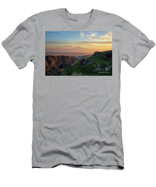 Qasakh Gorge And Ararat Mountain At Golden Hour Men's T-Shirt (Slim Fit) by Gurgen Bakhshetsyan