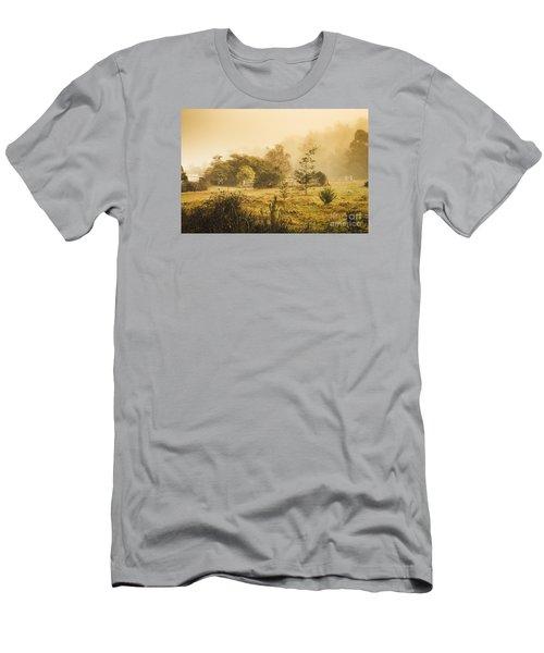 Quaint Countryside Scene Of Glen Huon Men's T-Shirt (Athletic Fit)