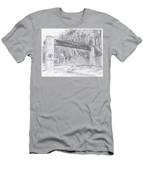 Men's T-Shirt (Athletic Fit) featuring the drawing Quantico Welcome Graphite by Betsy Hackett