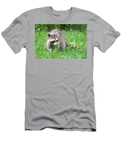 Raccoon Smelling Flowers Men's T-Shirt (Athletic Fit)