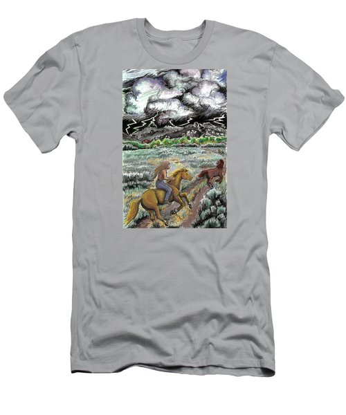 Men's T-Shirt (Slim Fit) featuring the drawing Racing The Lightning Home by Dawn Senior-Trask