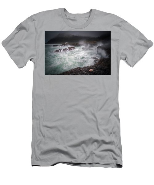 Men's T-Shirt (Athletic Fit) featuring the photograph Raging Waves On The Oregon Coast by William Lee