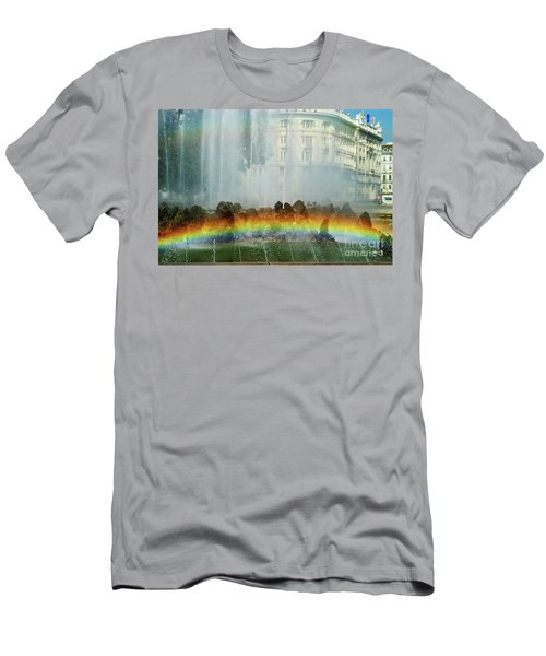 Men's T-Shirt (Slim Fit) featuring the photograph Rainbow Fountain In Vienna by Mariola Bitner