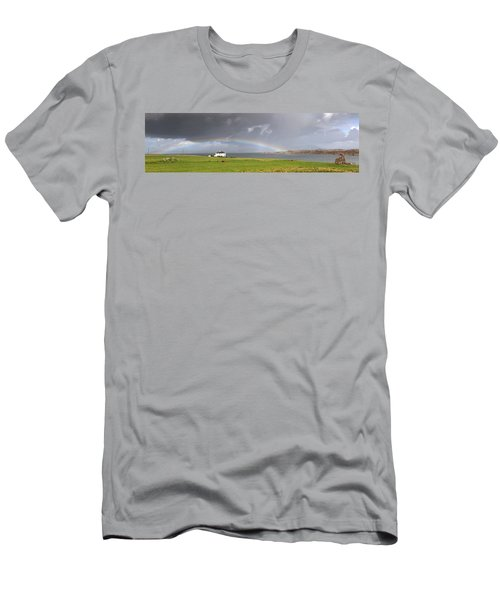 Rainbow, Island Of Iona, Scotland Men's T-Shirt (Athletic Fit)