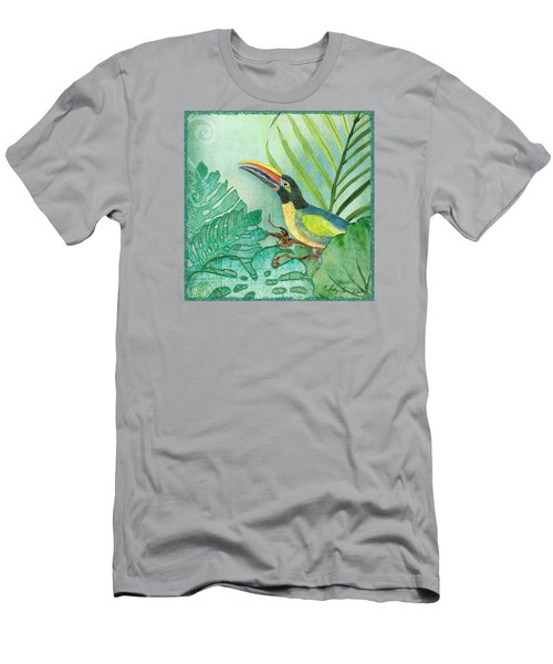 Rainforest Tropical - Jungle Toucan W Philodendron Elephant Ear And Palm Leaves 2 Men's T-Shirt (Athletic Fit)