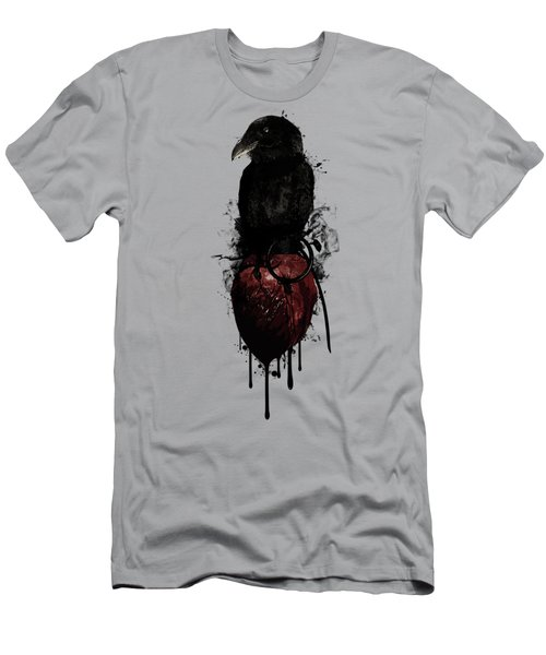 Raven And Heart Grenade Men's T-Shirt (Slim Fit) by Nicklas Gustafsson