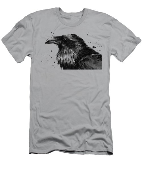 Raven Watercolor Portrait Men's T-Shirt (Athletic Fit)