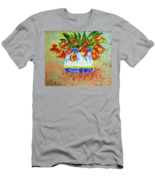Red And Yellow Tulips Men's T-Shirt (Slim Fit) by Lynda Cookson