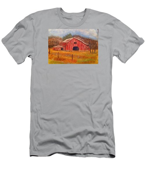 Men's T-Shirt (Slim Fit) featuring the painting Red Barn Painting by Belinda Lawson