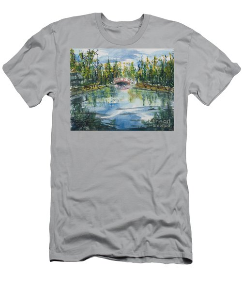 Men's T-Shirt (Athletic Fit) featuring the painting Red Bridge On Lake In The Ozarks by Reed Novotny